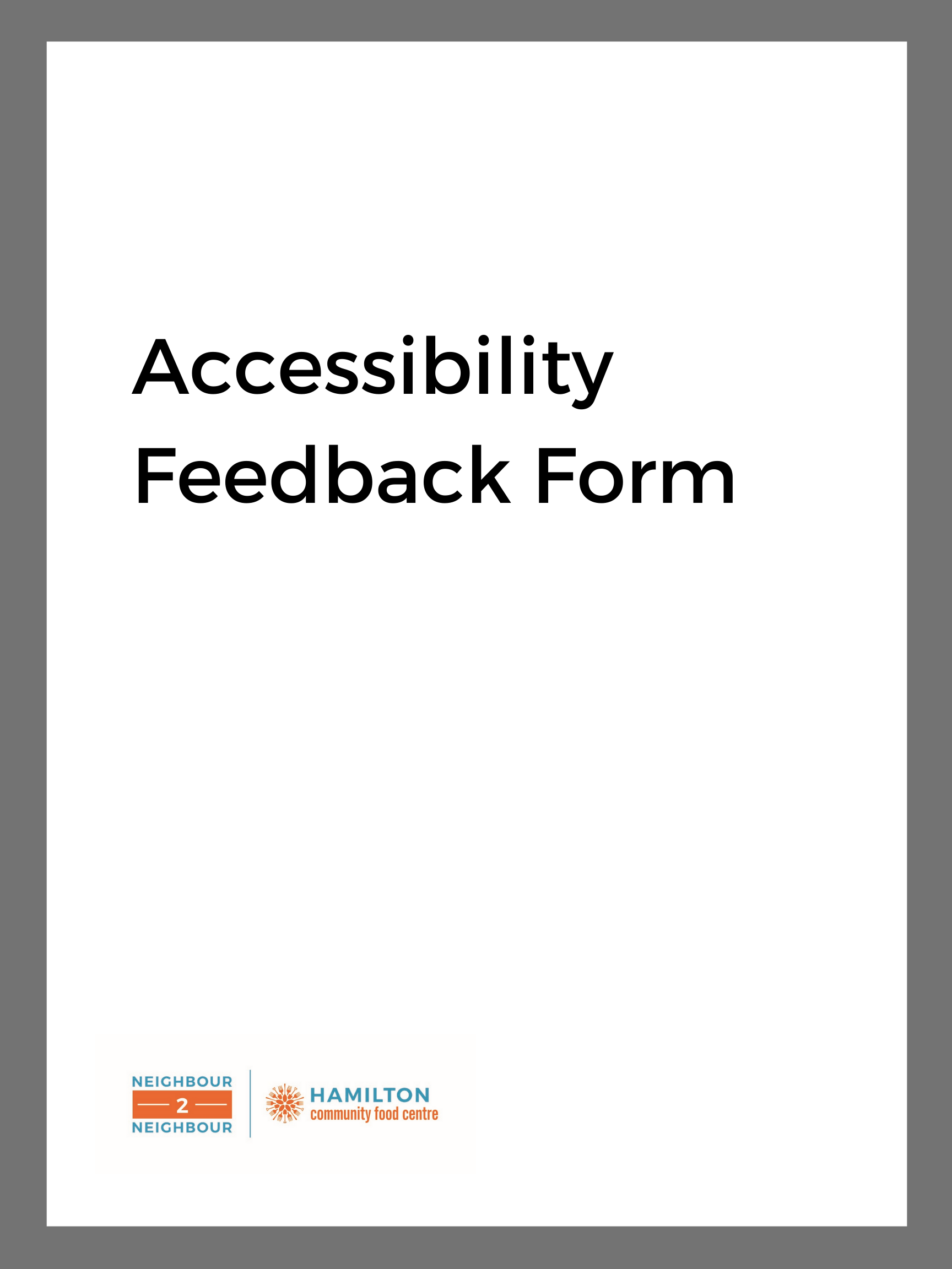 image of: Accessibility Feedback Form