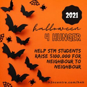 orange background with bats with text about Halloween for Hunger campaign